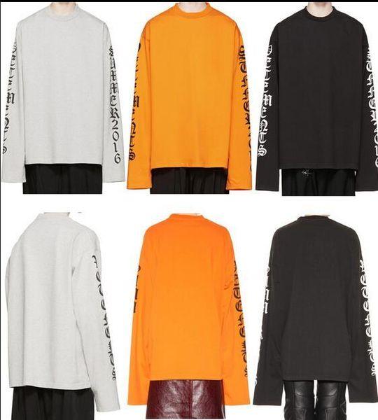 2016SS oversized t shirt urban clothing swag harajuku kpop kanye west men women long sleeve letter printed justin bieber tee