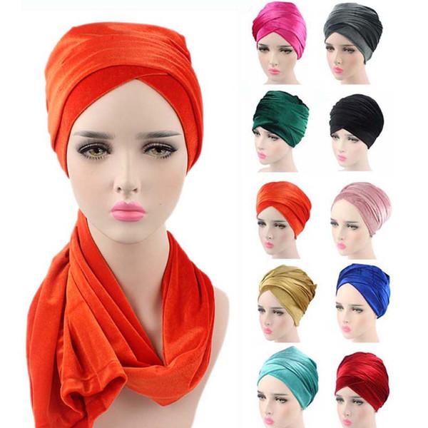 Women Fashion Hot Style Velvet Turban Muslim Long Tail Cap Wrapped Head Scarf Hat Ladies Headwrap Scarf