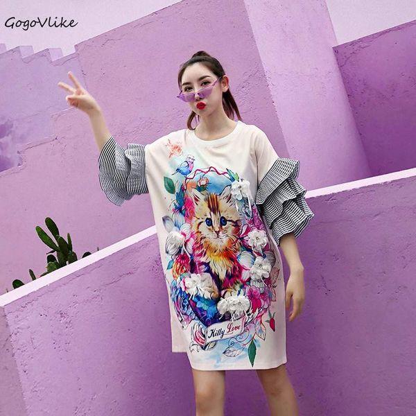 Cute Cat Print t shirt Flower Appliques women Top Tees 2018 ulzzang Striped Sleeve Clothing Plus size summer LT579S30