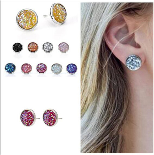 top popular 500pcs glitter resin round druzy earrings trendy stainless steel Stud EarringsToneresin stone earring R168 2019