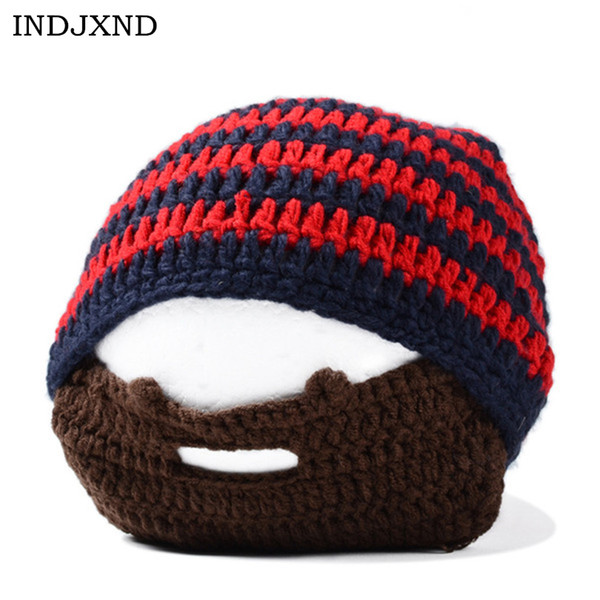 INDJXND Fashion Stripe Mens Beard Beanies Cool Mustache Punk Warm Winter Knit Hat Crochet Beanie Face Mask Ski Snow Warmer Caps