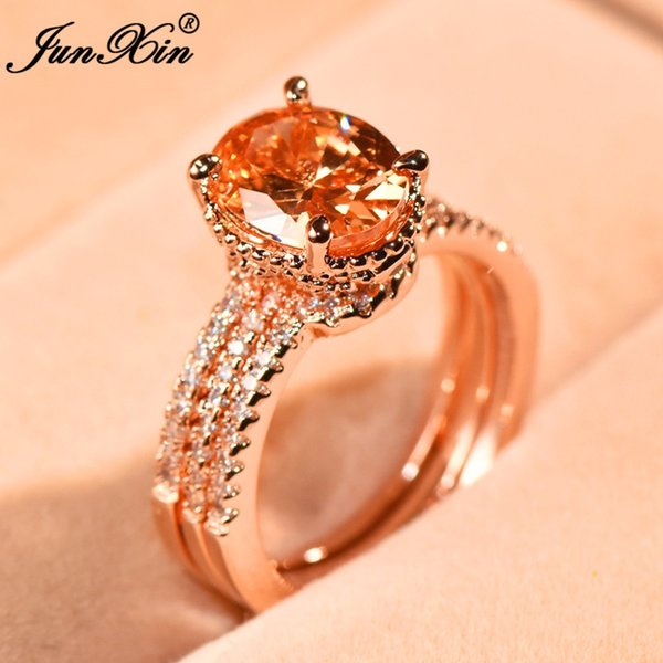JUNXIN Cute Female Round Ring Set Luxury Big CZ Stone Ring Fashion Rose Gold Filled Jewelry Vintage Wedding Rings For Women