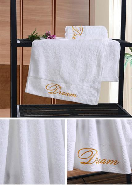 1pc al por mayor Quality Crown blanco bordado del hotel toallas de algodón Juego de toallas de mano / toallas de cara de la toalla de baño para los adultos Estropajos alta AbZI-038