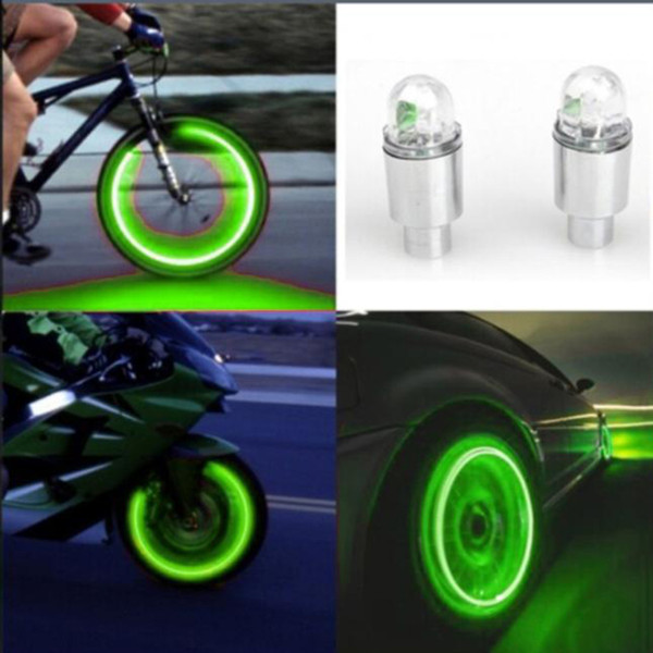 Auto Zubehör Fahrradzubehör Neon Blue Strobe LED Reifen Ventil Caps-2PC 3 Farben blau, grün, rot