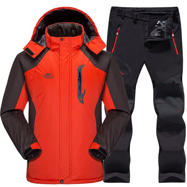 Ski Suit Men Waterproof Thermal Snowboard Fleece Jacket + Pants Male  Mountain skiing and snowboarding Winter Snow Clothes Set 4f5e0d689
