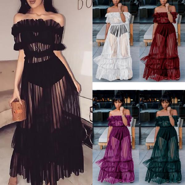 Disco sexy longue jupe mot épaule sexy maille robe de gaze 2018 Europe et la nouvelle jupe perspective dentelle