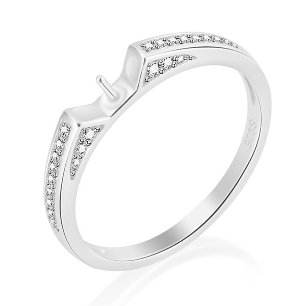 Pearl Ring Mounting Solid 925 Silver Ring Setting Ring Accessory With CZ