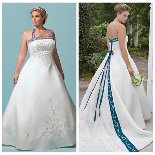 halter vintage a-line wedding dresses 2019 embroidery beaded lace up back bridal gowns custom online plus size vestidos de marriage