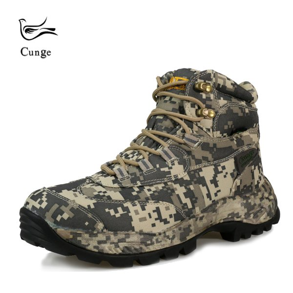 Men Outdoor Waterproof Hiking Shoes Boots Tactical Desert Combat Ankle Boots SWAT Army Camouflage Shoes