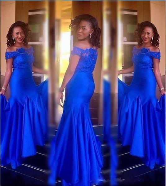 Robes de bal luxe Applique dentelle de l'épaule chic de tache élastique fait sur mesure élégantes robes africaines de soirée