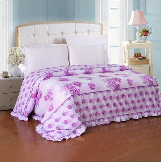 Atacado-Princess 100% sarja de algodão AB laço colcha de algodão quilt babados versão Capa de edredão