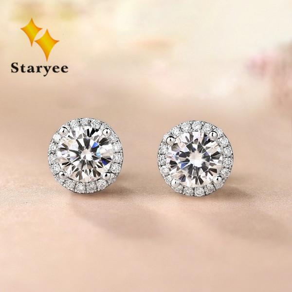 ac45d759b Genuine Moissanite Halo Stud Earrings For Women 0.5CT VS H Charles Colvard  Gemstone 18K Pure