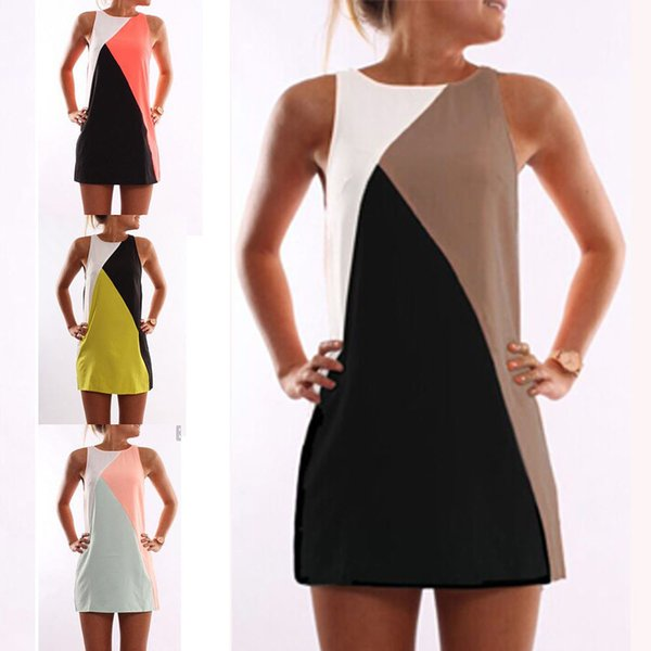 S-XXL office lady dress Womens Sleeveless Geometric Evening Party Short Mini Dress