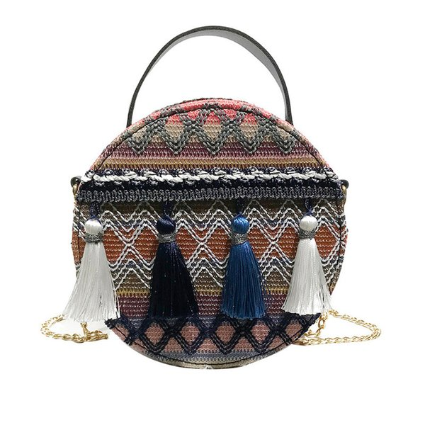 2018 Fashion Women Handbag chain small round Shoulder Bag Lady Cross-body super fire national wind portable packet