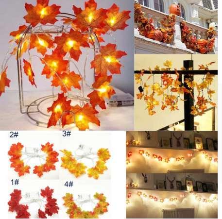 (Productos navideños) 1.5M 10LED Caída iluminada Autumn Pumpkin Maple Leaves Decoración de acción de gracias Garland Thanksgiving Decor 8.29