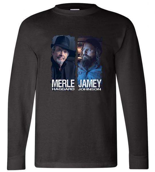 Nova Merle Haggard Jamey Johnson manga comprida preta tamanho T-shirt S-3XL