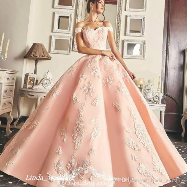 Charming Quinceanera Dress Princess Arabic Dubai Off Shoulders Sweet 16 Ages Long Girls Prom Party Pageant Gown Plus Size Custom Made