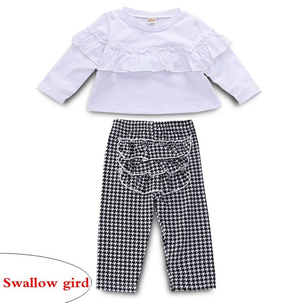 top in cotone a maniche lunghe per bebè bambina bianca Swallow gird pants outfit regalo pagliaccetto + pantaloni set bambino abbigliamento cotone bambino vestito bambina 0-4Y