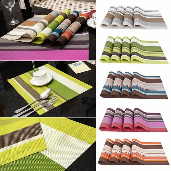 4pcs/lot PVC Placemat Kitchen Table Set Placemats for Table Mat Pad Dining Drink Coasters Heat Insulation Coaster Place Mat