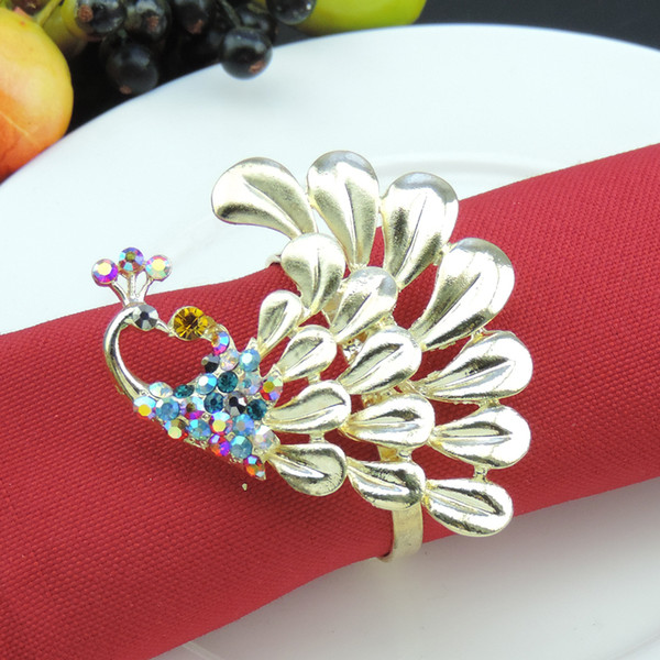 wholesale 100pcs Peacock exquisite napkin ring home hotel model room Table decorative napkin buckle for wedding party decoration