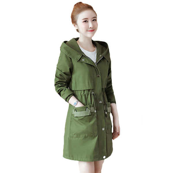 2018 Autumn Winter Windbreaker For Women Trench Coat Hooded Cotton Long Casual Female Spring Coat Armygreen Outerwear A711