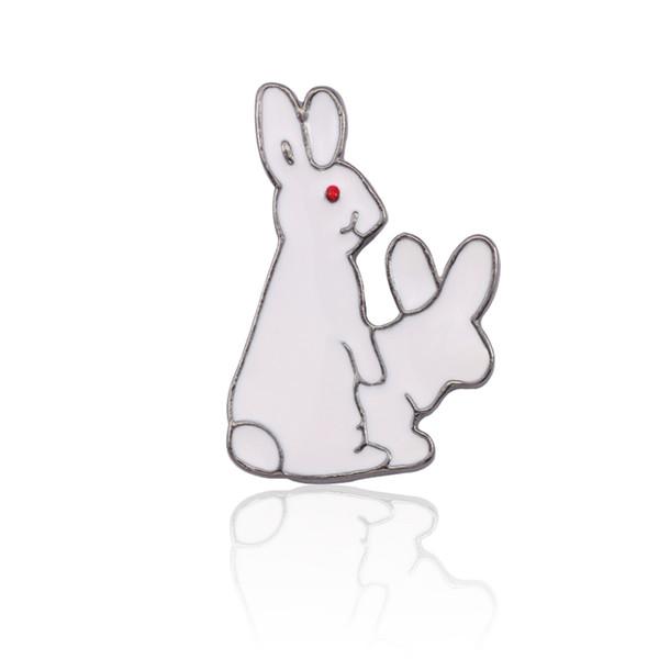 Trendy Cartoon Animal Male Spille Divertenti Per Le Donne Divertente Coniglio Bianco Spilla Gioielli Hip Hop Punk Spille Per Gli Uomini Gioielli Jewellry