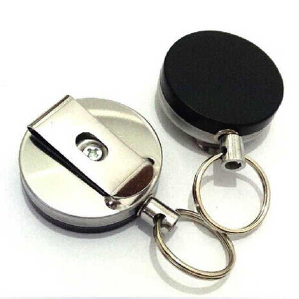 Easy Pull Buckle Stainless steel Keychain Wire Rope Chain Recoil Metal Retractable Alarm Key Ring Anti Lost Anti-theft Stretch Key chain