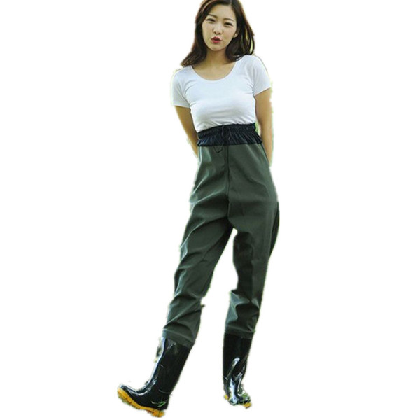 Pantaloni da donna a mezza lunghezza elastici in vita da pesca stivali da stivali in gomma impermeabile traspiranti stivali da pioggia scarpe pantaloni tuta