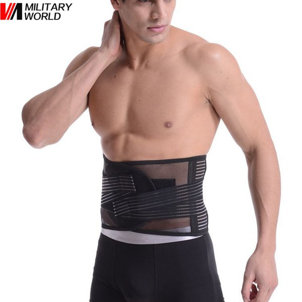 Summer Comfort Breathable Elastic Mesh Belt Adjustable Back Waist Support Double Pull Strap Lower Lumbar Brace Belt Size L