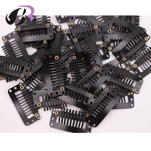 100 pcs Black Hair Snap Grampos Para Extensões Em U Tecer Peruca de Metal Weave 32mm 9 Dentes Clips Styling ferramentas
