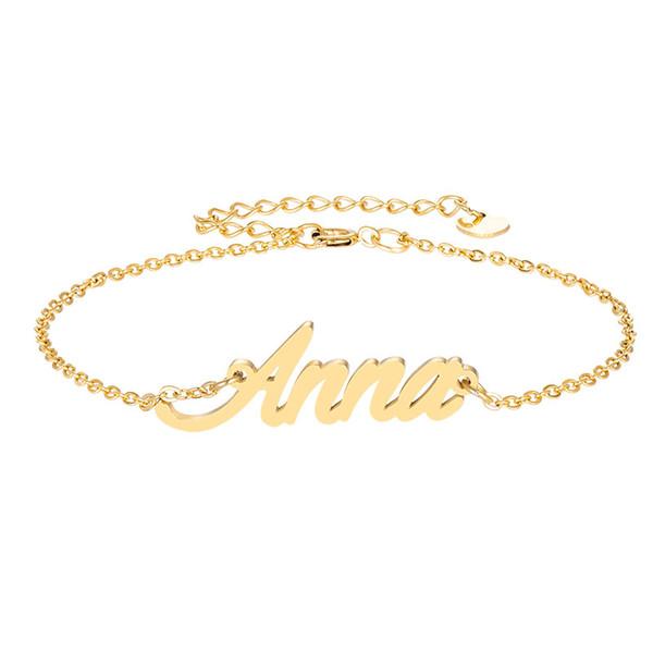 18k Gold plated Stainless Steel Engrave Script Name Charm Bracelets for Women Personalized Custom Bracelet Charm Christmas Gift