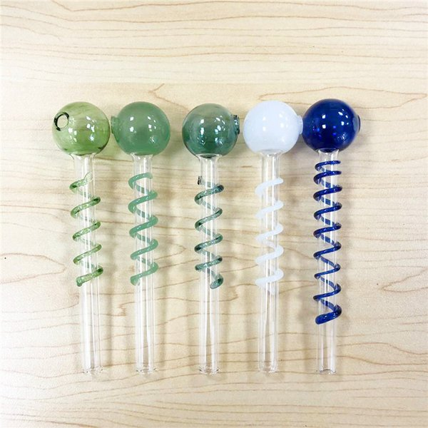 High Quality New Pyrex Glass Oil Burner Pipes Glass Pipe Curved Glass Oil Smoking Pipe Mini Smoking Tools SW26 Wholeasales