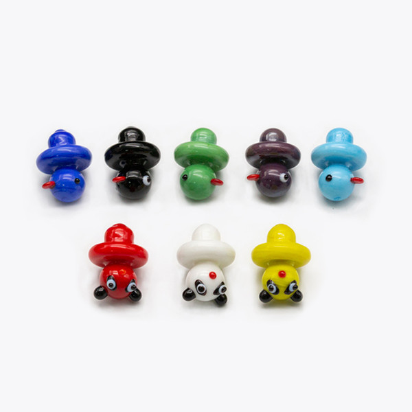 Wholesale Solid Colored Glass Yellow Duck UFO honey bucket carb cap dome for glass bongs water pipes,Thermal P Quartz banger Nails