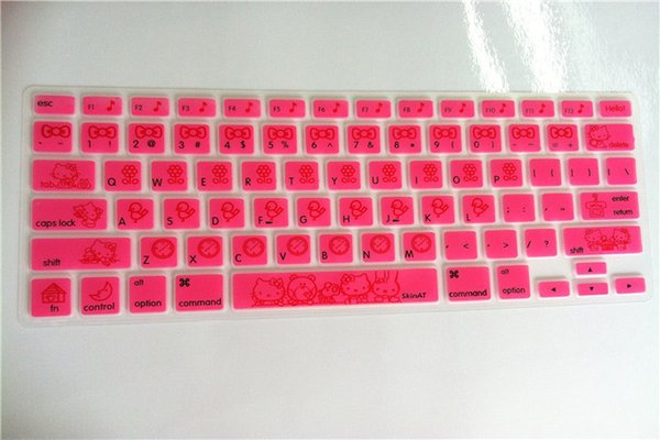 Ultra-thin Cute HOT Pink Hello Kiy Silicone Keyboard Cover Skin Protector for for  MacBook Air Pro 13 15 17