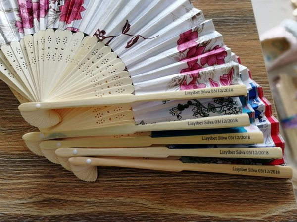 New Chinese Japanese Vintage Fancy Folding Fan Hand Wooden Lace Silk Flower Dance Fans Party Supplies For Gift gift box 100 PCS