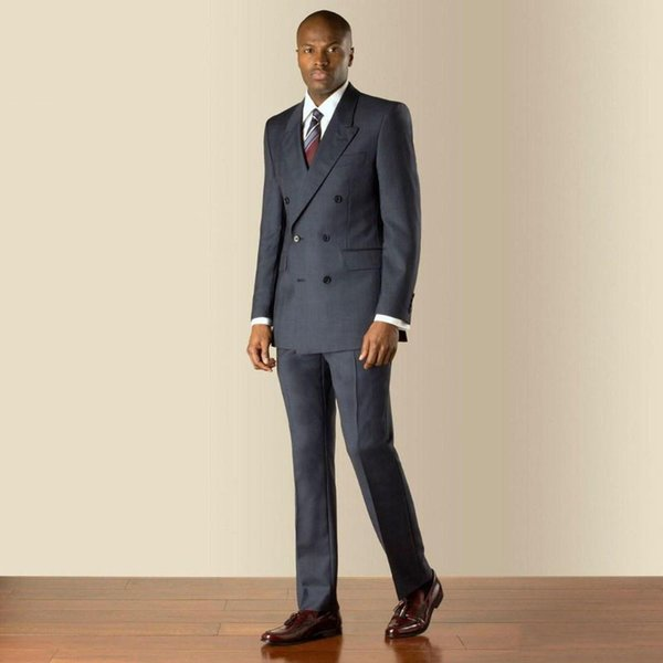 2018 Men Suits Charcoal Grey Evening Dress Wedding Suits Bridegroom Groom Custom Made Slim Fit Formal Tuxedos 2Piece Blazer Prom Best Man