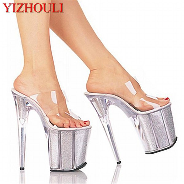 20cm Unusual High Heel Shoes Silver 8 Inch High Heel Gladiator Sandals Crystal Platform Slippers Made In China Sexy Rome Shoes