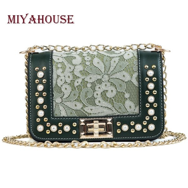 Miyahouse Female Floral Flap Bags Pearl Messenger Bag For Women Lace Shoulder Bags PU Leather Girls Chain Crossbody Bag