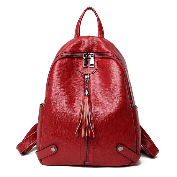 best selling Shoulder bag women's head layer leather soft leather bag 2018 new stylish versatile Korean travel backpack