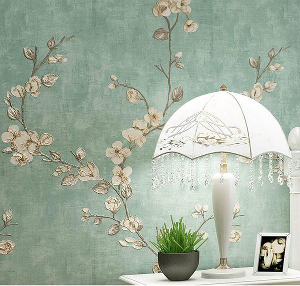 Dokunmamış Kumaş 3D Duvar Kağıtları Oturma Odası için 8 Renkler Baskılı Çiçek Renkler 0.53 * rulo başına 10 m Ücretsiz Kargo
