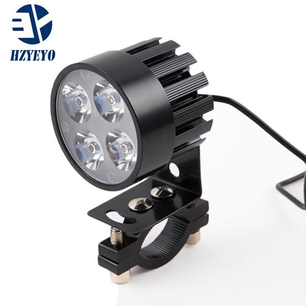 HZYEYO 2 pz / lotto Motociclo Elettrico Moto 12 W 4 LED Faro Ausiliaria di Lavoro Guidare Nebbia Spot Night Safe Lampada Universale L-805