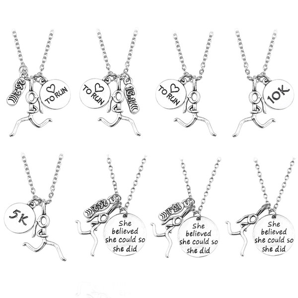 Мода Бегун марафон 13.1 26.2 5 к 10 к подвески ожерелья Сердце работает девушка рисунок ожерелье вдохновляющие Спорт ювелирные изделия