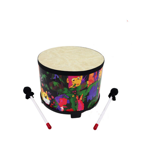 top popular 10inch Kids Percussion Floor Tom Drum Polyester drum skin Rain Forest Musical Instrument Percussion 2020