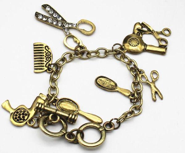1 unids alta calidad Rhinestone mano cizalla secador de pelo tijeras peine encanto pulsera estilo Retro color bronce venta caliente