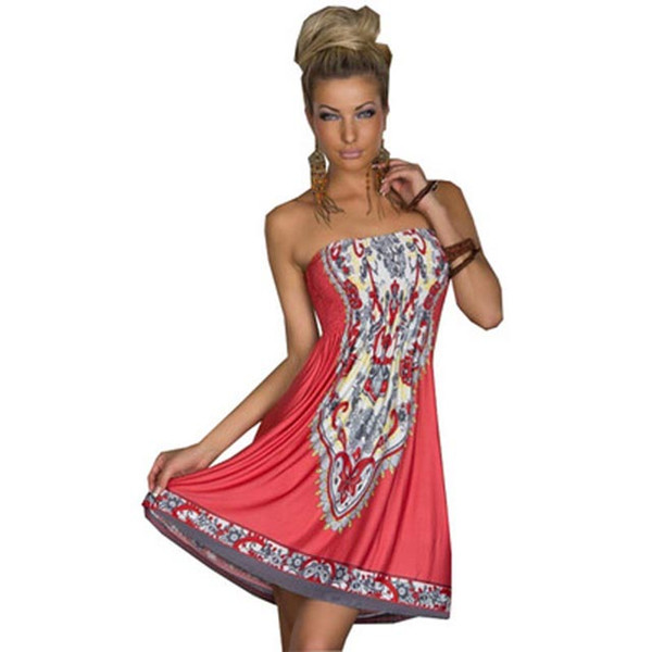 best selling Women Beach Bohemia Dress Slash Neeck Soft Ethnic Print Sexy Sleeveless Loose Casual Plus Size One Size Fits M- 2XL Summer Fashion Clothes
