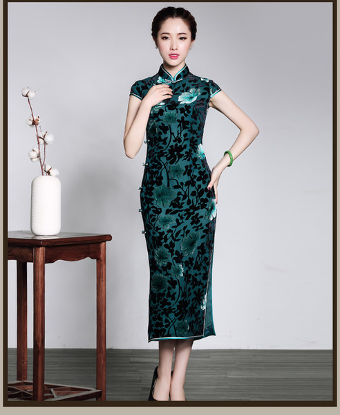 Xi Yue 2018 summer new velvet long body style cheongsam old and old mother improved ancient collar dress