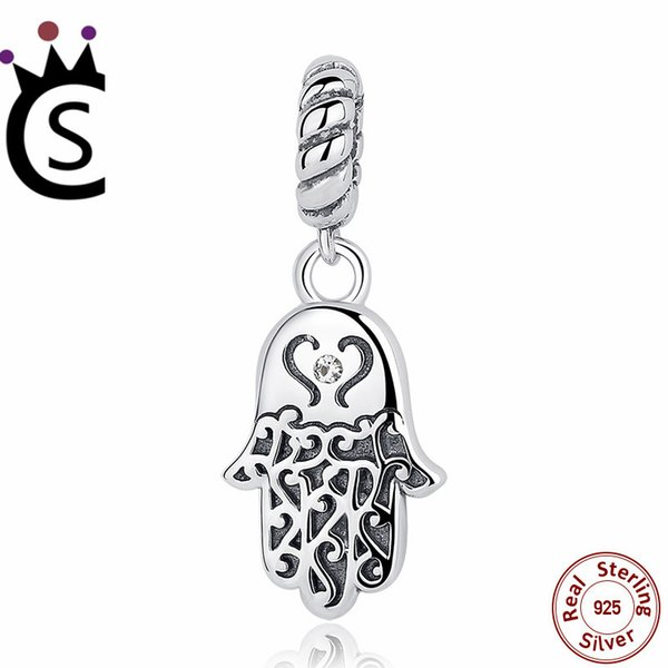2018 925 Sterling Silver Jewelry Lucky Hamsa Hand Pendants Charm fit Bracelet & Necklace for Women New Collection