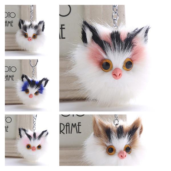 Faux Rabbit Fox Fur Keychain 5 Styles Cute Pom Pom Eagles Owl Keychain Bag Charms Car Key Chain Holder Promotional Gifts Whoelsale
