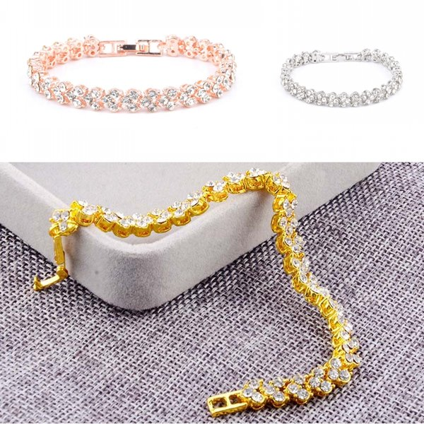 new fashion roman style woman crystal zircon bracelets gifts for women and girl simple diamond full diamond bracelet 3 styles d951q