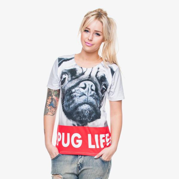 Mulheres T-shirt Vida Pug 3D Full Print Girl Tamanho Livre Stretchy Casual Tops Senhora Curto Mangas Digital Graphic Camiseta Blusa (GL29828)